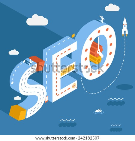 Isometric SEO, success internet searching optimization process illustration on the sky background with clouds - stock photo