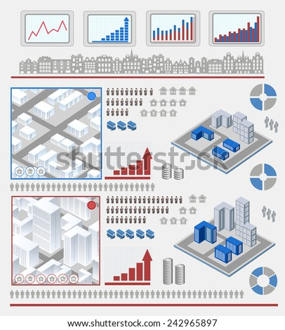 Isometric set of elements for infographic - stock photo