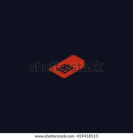 Isometric sim card illustration. - stock photo