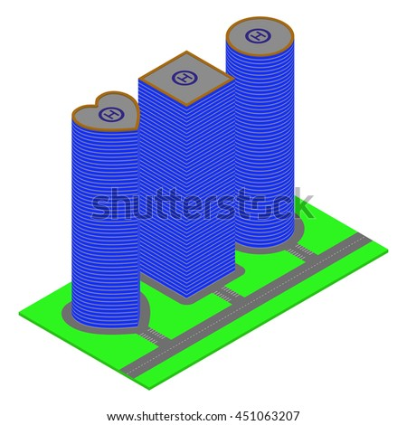 Isometric skyscrapers on a white background.  - stock photo