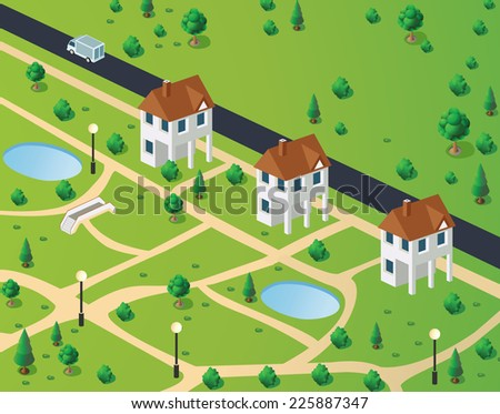 Isometric view of town houses on the background of the road - stock photo