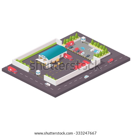 Isometric warehouse building icon. Isometric distribution warehouse with trucks loading and unloading goods. Isometric Factory distribution warehouse. Manufacturer distributing goods. - stock photo