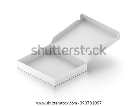 Isometric white open blank pizza box isolated on white background. - stock photo