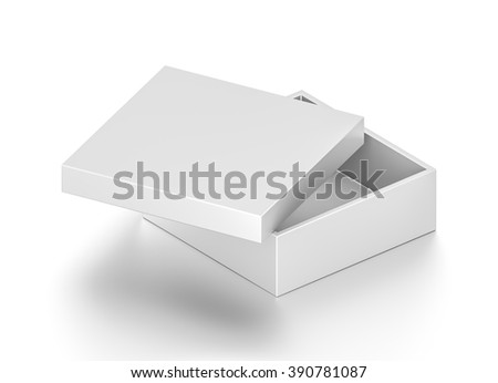 Isometric white open wide rectangle blank box with cover isolated on white background. - stock photo