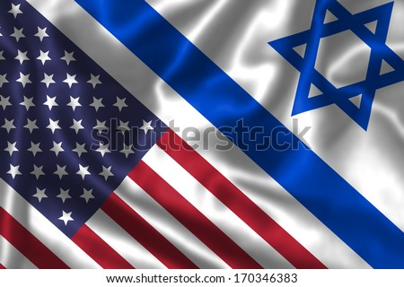 Israel and USA flags face to face, symbol for the relationship between the two countries. - stock photo