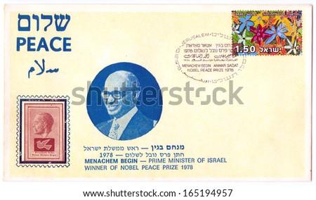 "ISRAEL - CIRCA 1978: An old Israeli envelope and postage stamp issued in honor of Prime minister Menachem Begin with inscription ""Menachem Begin, Anwar Sadat - Nobel Peace Prize""; series, circa 1978 - stock photo"
