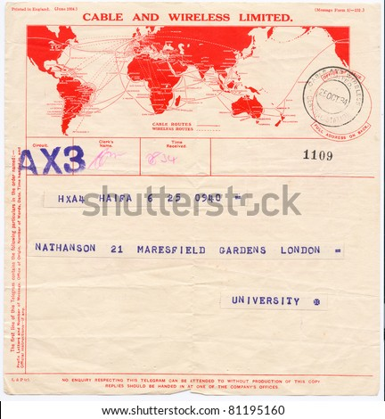 "ISRAEL - CIRCA 1934: An old printed in England telegram form (campaign poster) sent from Haifa to London showing red map of the world with inscription ""Cable and Wireless Limited"", series, circa 1934 - stock photo"
