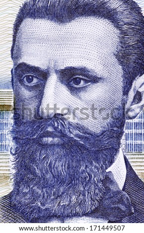 ISRAEL - CIRCA 1988: Theodor Herzl (1860-1904) on 10 Sheqalim 1988 Banknote from Israel. Jewish Austro-Hungarian journalist and the father of modern political Zionism and in effect the State of Israel - stock photo