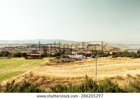 Israel countryside and farm near Tiberias. - stock photo