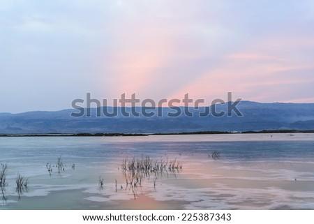 Israel. Dead sea. Sunrise. - stock photo