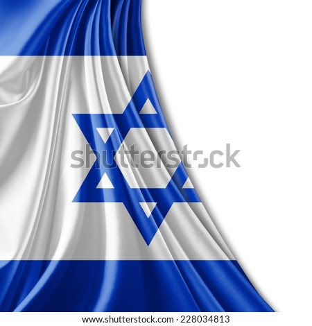 Israel flag and white background - stock photo