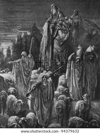 Israel is on its way to Egypt. 1) Le Sainte Bible: Traduction nouvelle selon la Vulgate par Mm. J.-J. Bourasse et P. Janvier. Tours: Alfred Mame et Fils. 2) 1866 3) France 4) Gustave Doré - stock photo