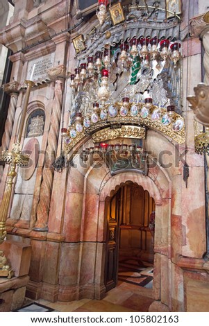Israel. Jerusalem. Church of the Holy Sepulchre. The Tomb of Jesus Christ - stock photo