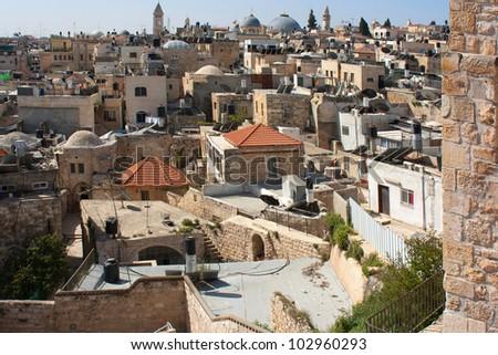 Israel, Jerusalem, Old City, Roofs of the Muslim quarter - stock photo