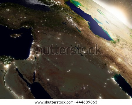 Israel, Lebanon, Jordan, Syria and Iraq with surrounding region during sunrise. 3D illustration with realistic planet surface, clouds and city lights. Elements of this image furnished by NASA. - stock photo