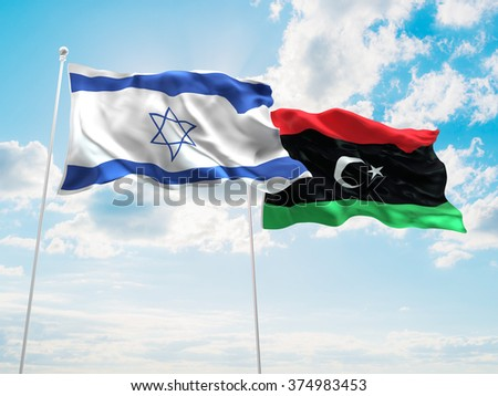Israel & Libya Flags are waving in the sky - stock photo