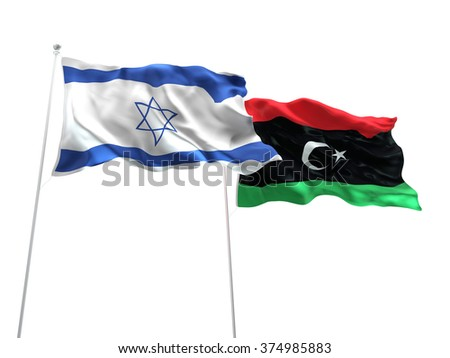Israel & Libya Flags are waving on the isolated white background - stock photo