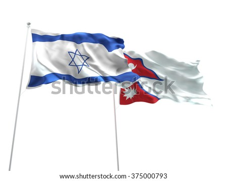 Israel & Nepal Flags are waving on the isolated white background - stock photo