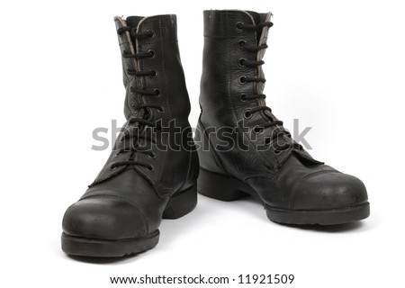 Israeli army boots, isolated - stock photo