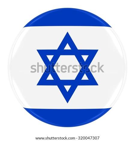 Israeli Flag Badge - Flag of Israel Button Isolated on White - stock photo