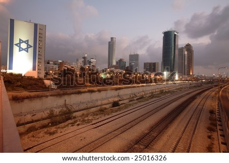 Israeli flag over Ayalon highway, Tel Aviv - stock photo