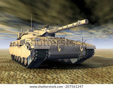 Israeli Main Battle Tank Computer generated 3D illustration - stock photo