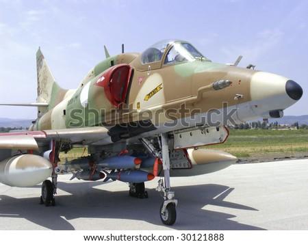 israeli skyhawk fighter airplane - stock photo