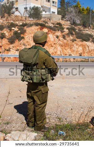 Israeli soldier patrol in West Bank fight with terrorist - stock photo
