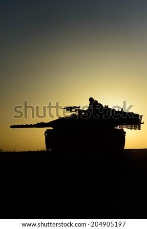 Israeli Tank near Gaza Strip in July Gaza -Israel war. - stock photo