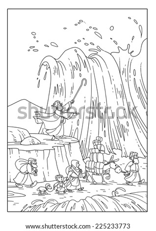 Israelites crossing the Red Sea on the bottom - stock photo
