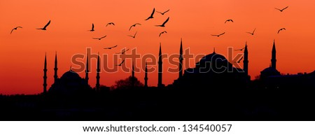 Istambul skyline at sunset.Panoramic composition. - stock photo