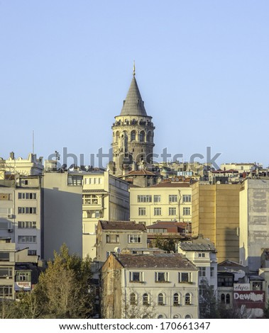 Istanbul and Galata tower Scene - stock photo