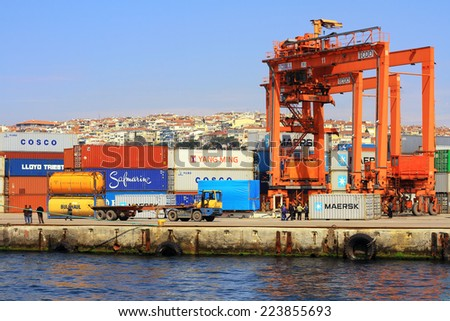 ISTANBUL - APR 12, 2012: Haydarpasa Container Port from the water side. This particular terminal is one of main trading port in Turkey. - stock photo