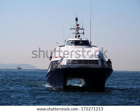ISTANBUL - APRIL 23, 2013: luxury yacht in the Marmara Sea - stock photo