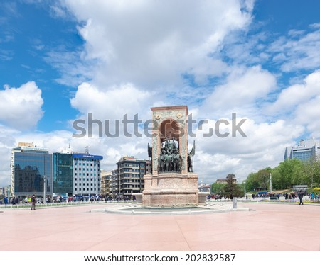 ISTANBUL - APRIL 28, 2014: Republic Monument at Taksim Square in Istanbul. The monument honoring the leaders of the struggle for independence was unveiled in 1928. - stock photo