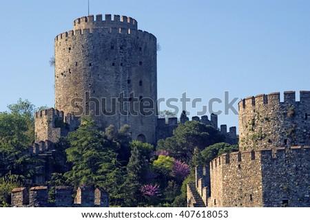 ISTANBUL - APRIL 22 : Rumeli Hisari at April 22, 2012 in Istanbul, Turkey. Anadolu Hisari is a medieval Ottoman fort along the Bosphorus in Istanbul. - stock photo