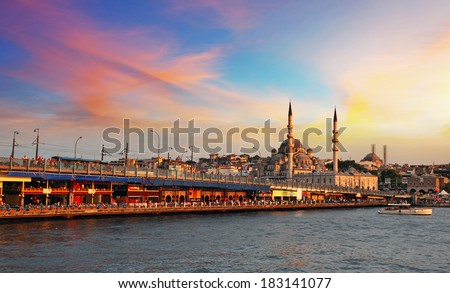 Istanbul at a dramatic sunset with sun - stock photo