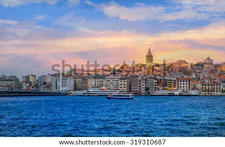 Istanbul at sunset - Galata district, Turkey - stock photo