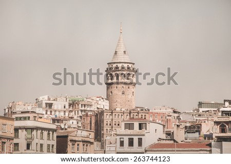 Istanbul cityscape in Turkey with Galata Tower, 14th-century - stock photo