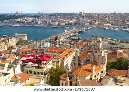 Istanbul Galata Bridge and Goldenhorn view from above - stock photo