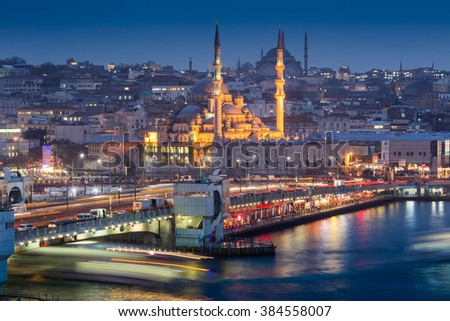 ISTANBUL IN TURKEY  29 JAN 2015 ,  Hundreds of tourists and local Turks hang out along the Bosphorus as night comes on on 29 JAN 2015  in Istanbul, Turkey. - stock photo