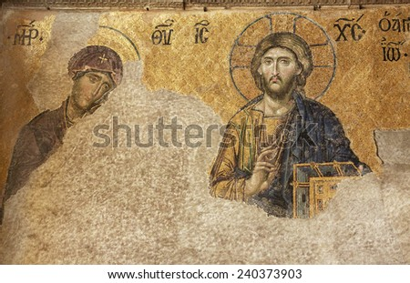ISTANBUL - JANUARY 03,2012:Hagia Sophia was beautifully decorated with mosaics within the centuries during Byzantine period. These mosaics depicted Virgin Mary, Jesus, saints and emperors or empresses - stock photo