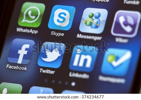 ISTANBUL - JULY 06, 2012: Apple Iphone 4S screen with social media applications of Facebook, Twitter, Skype, Linkedin, Whatsapp, foursquare and Viber. - stock photo