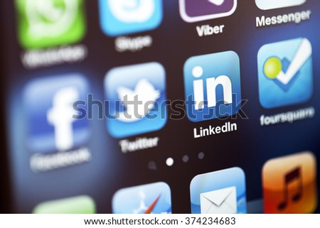 ISTANBUL - JULY 06, 2012: Apple Iphone 4S screen with social media applications of Facebook, Twitter, Skype, Linkedin, Whatsapp, Messenger, foursquare and Viber. - stock photo