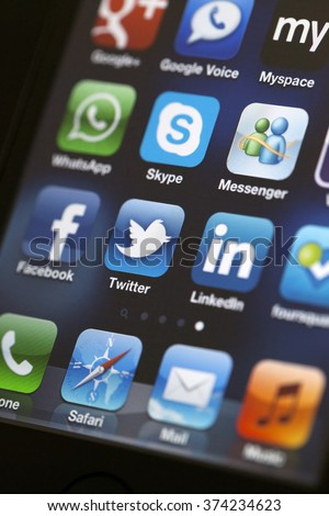 ISTANBUL - JULY 06, 2012: Apple Iphone 4S screen with social media applications of Myspace, Facebook, Twitter, Skype, Linkedin, Whatsapp, Google Plus, Google Voice, foursquare, Messenger and Flickr. - stock photo