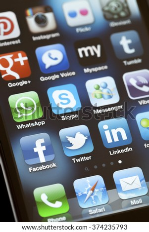 ISTANBUL - JULY 06, 2012: Apple Iphone 4S screen with social media applications of Myspace, Facebook, Twitter, Skype, Linkedin, Whatsapp, Pinterest, Instagram , Tumblr, Foursquare  and Viber. - stock photo