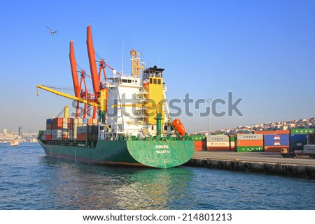 ISTANBUL - JUNE 4, 2013: Container Ship BAVARIA (IMO: 9113446, Malta) berthed at Haydarpasa Port. A 159 mt long, 24 mt width vessel, launched into the sea in 1996 and has a deadweight of 18,335 tons - stock photo