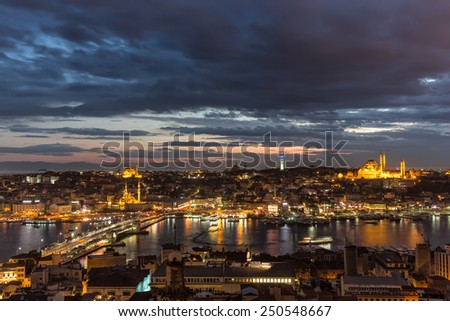 Istanbul Landscape from Galata Tower - stock photo
