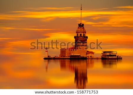 Istanbul Maiden Tower (kiz kulesi) at sunset - stock photo