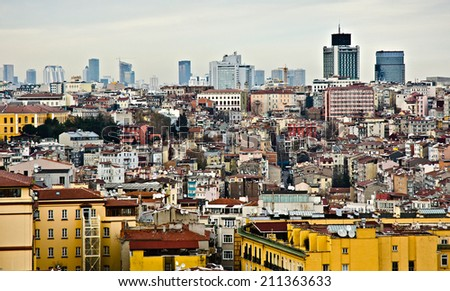 ISTANBUL, MARCH 24: cityscape from Galata Tower on March 24, 2014 in Istanbul, Turkey. Istanbul is the capital of Turkey and the largest city in Europe, with a population of 14.2 million.  - stock photo